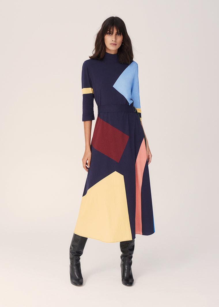 Navy Abstract Cotton-Jersey Dress