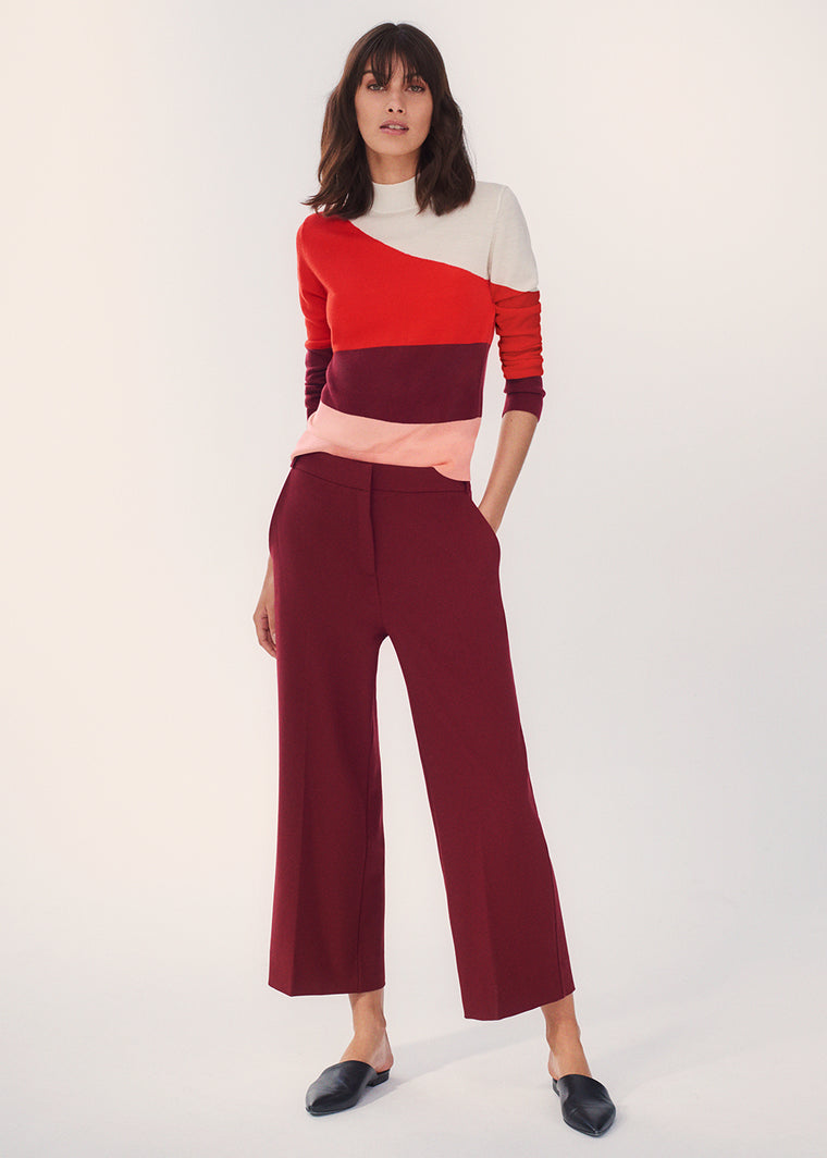 Red Curve Wool-Cashmere Sweater