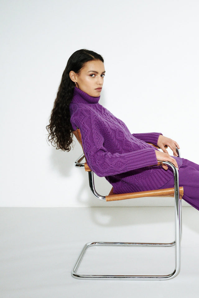 Purple Pop Aran Merino Wool Sweater image 3