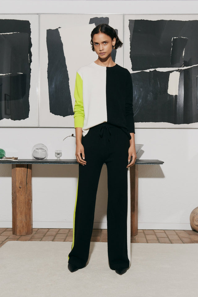 Lime Colour-Block Asymmetric Cashmere Sweater image 1
