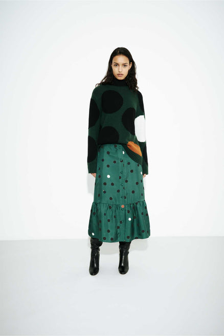 Green Dot Wool-Cashmere Sweater