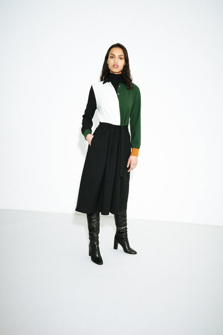 model shot of colour-block-wool-twill-shirt-dress its structured shape creates a ladylike aesthetic From Chinti & Parker