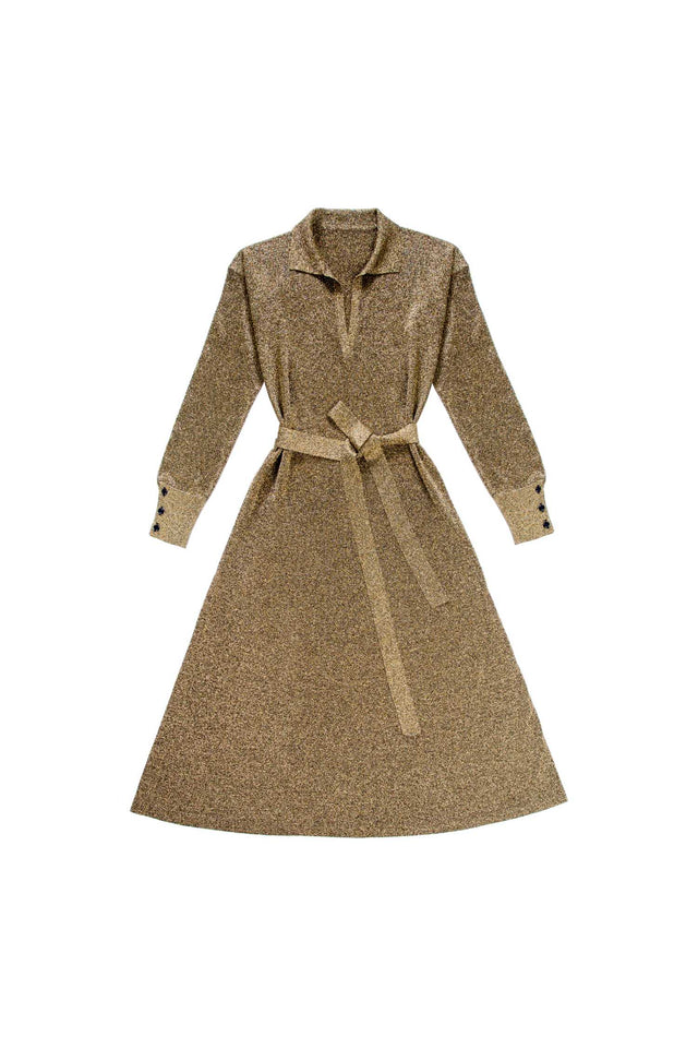 Gold knitted Shirt Dress image 2