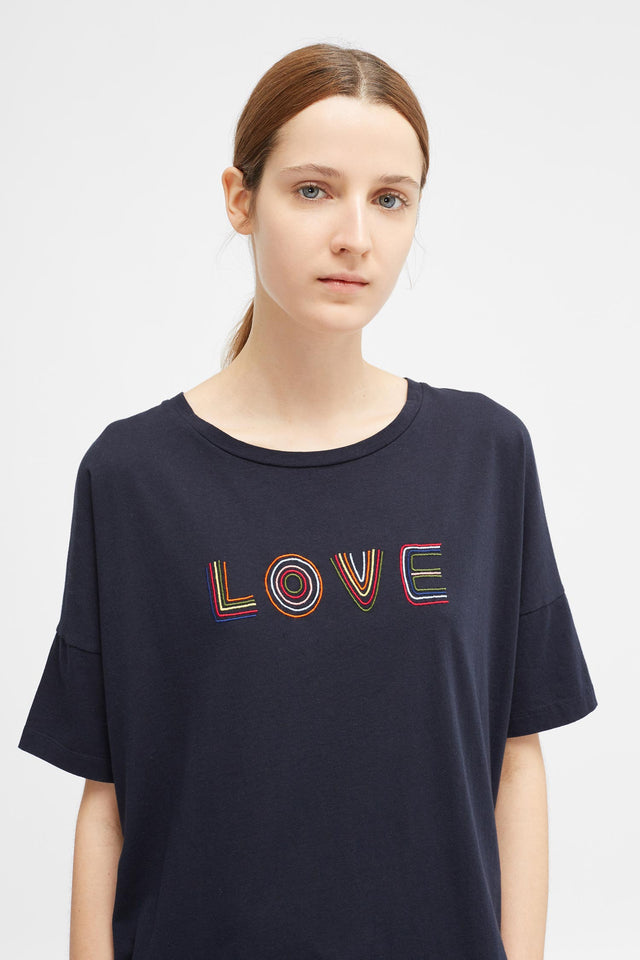 Navy Short Sleeve Carmen Love T-Shirt image 1