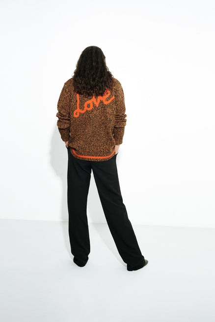 model shot of brown-dalloway-love-merino-wool-cardigan knitted using a mouliné technique From Chinti & Parker