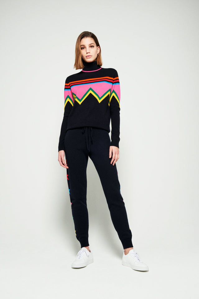 Navy Ski Slope Wool-Cashmere Roll Neck Sweater image 1