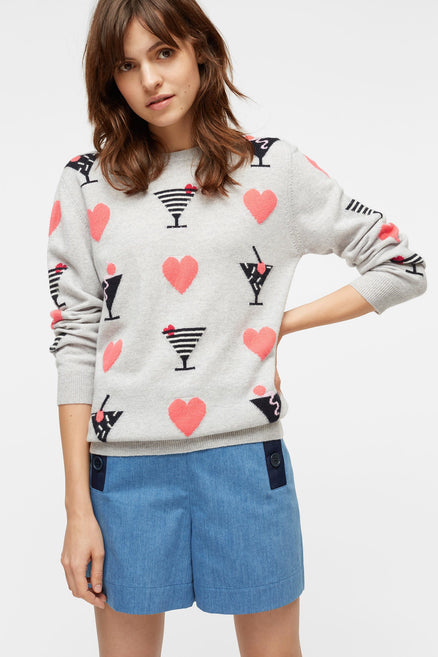 Grey Cocktail Heart Cashmere Sweater