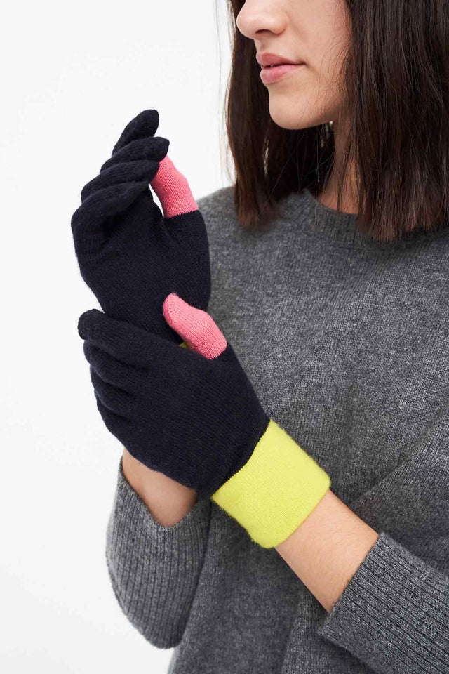 Navy Colour-Block Wool-Cashmere Gloves image 1