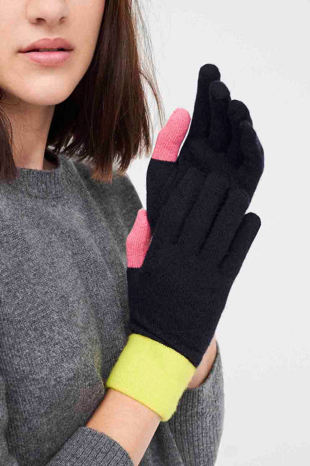 Navy Colour-Block Wool-Cashmere Gloves image 2