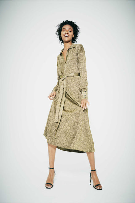 Gold knitted Shirt Dress