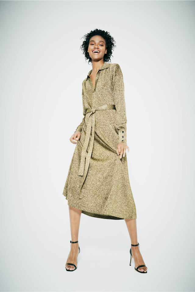 Gold knitted Shirt Dress image 1