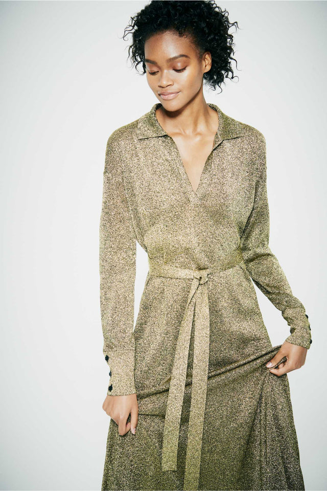 Gold knitted Shirt Dress image 3