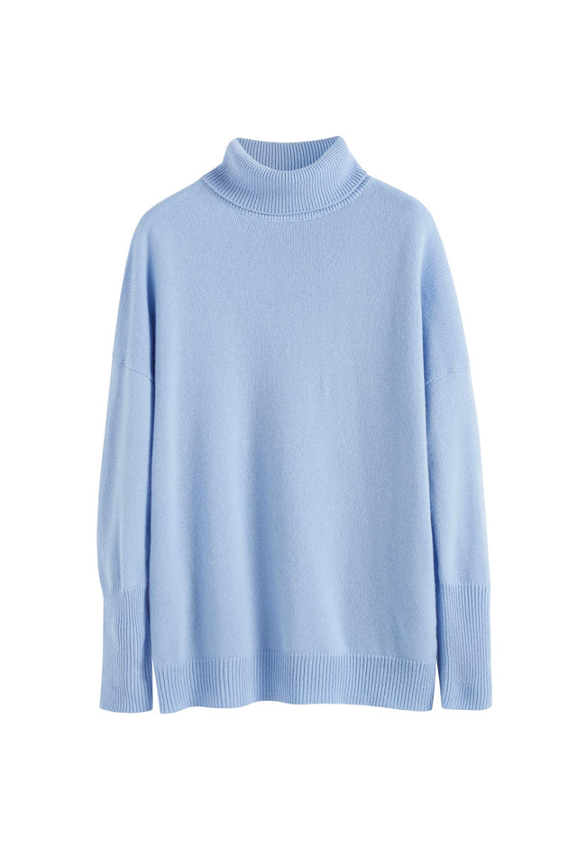 Blue Cashmere Rollneck Sweater image 2
