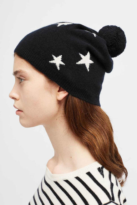 Black Cashmere Star Hat