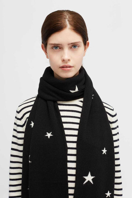 Black Cashmere Star Scarf
