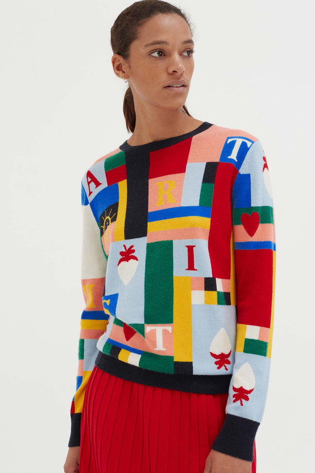 Patchwork Wool Bohemian Sweater image 3
