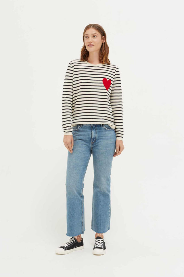 Cream with Navy Striped Heart Cashmere Sweater image 3