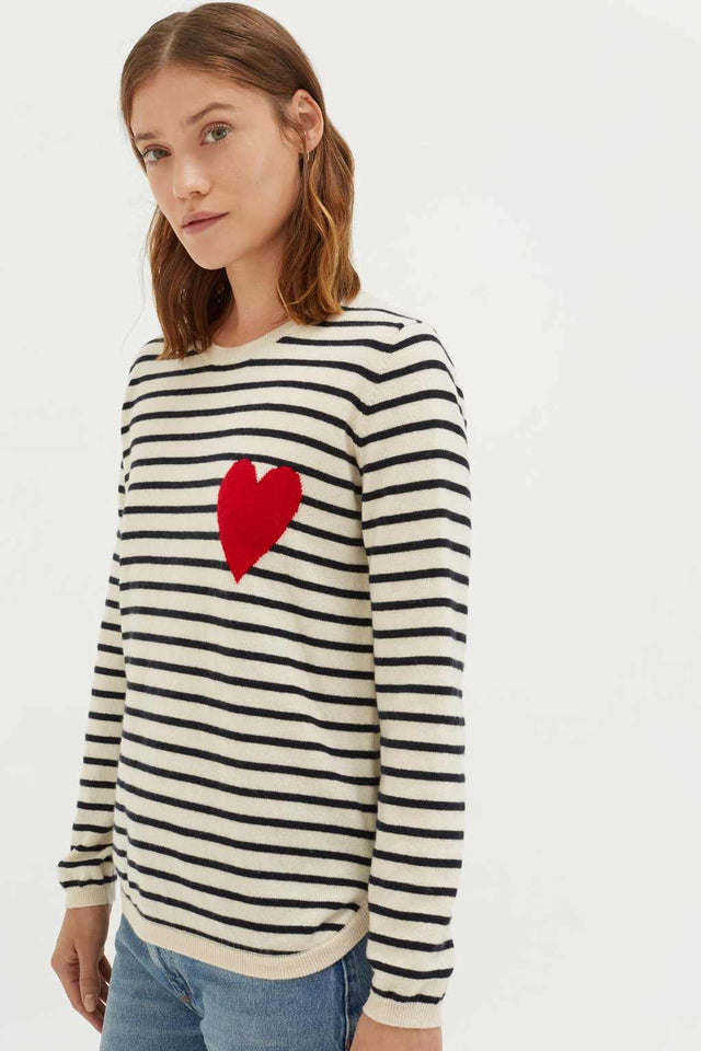 Cream with Navy Striped Heart Cashmere Sweater image 1