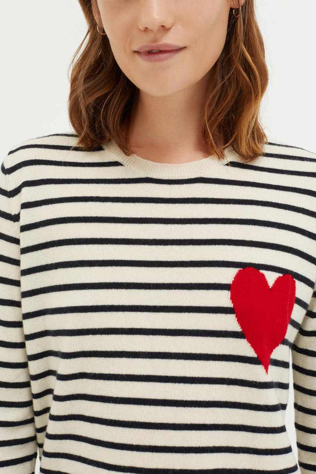 Cream with Navy Striped Heart Cashmere Sweater image 4