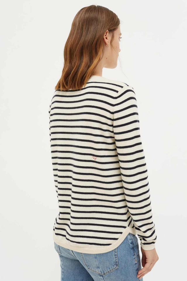 Cream with Navy Striped Heart Cashmere Sweater image 5