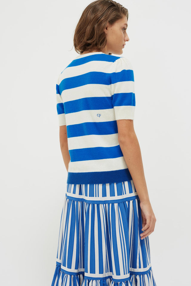 Blue Striped Jeanne Puff Sleeve T-Shirt image 6