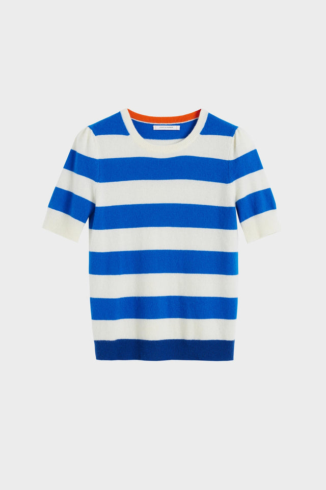 Blue Striped Jeanne Puff Sleeve T-Shirt image 2