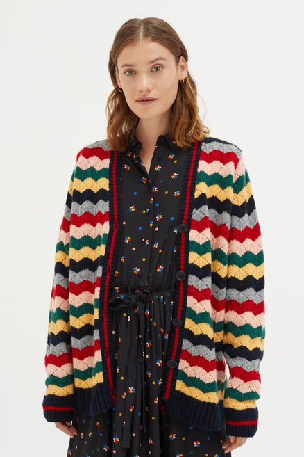 Multi-Colour Chevron Wool Cardigan