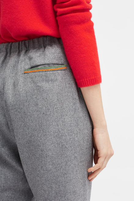 Grey Stitch-Detail Pants