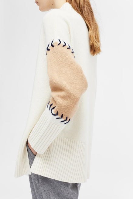 Cream Chevron Stitch Comfort Sweater