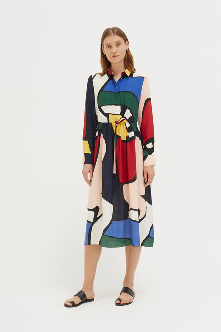 Multi-Colour Circus Silk Shirt Dress