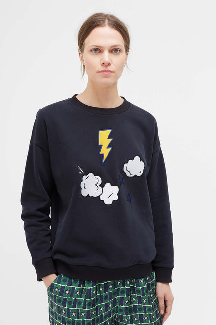 Navy Cloud Applique Sweatshirt