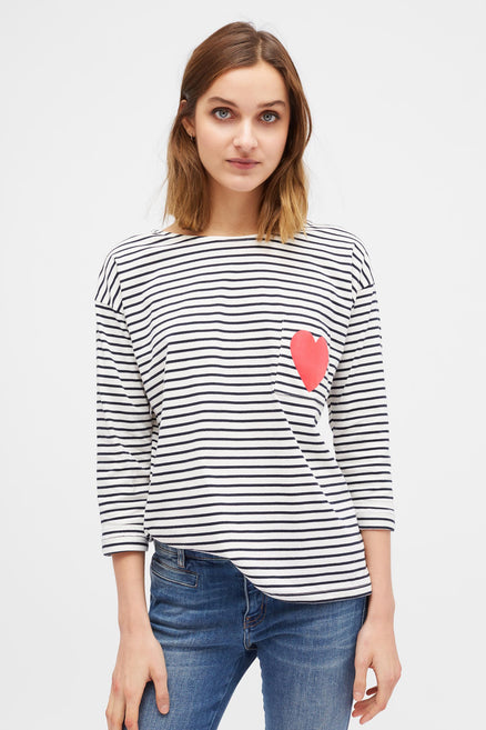 Cream with Navy Striped Breton Heart T-Shirt