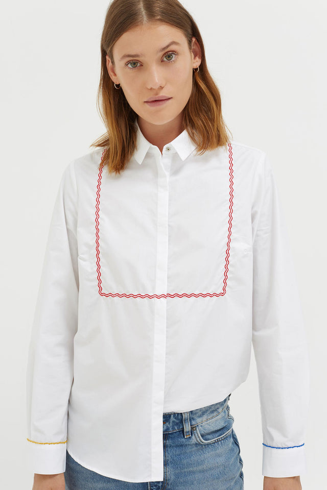 White Pom Pom Cotton Shirt image 2