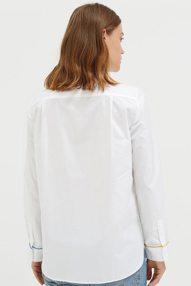 White Pom Pom Cotton Shirt image 4