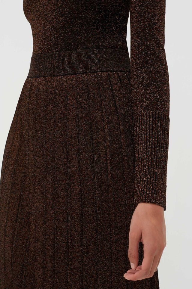 Bronze Lurex Pleated Skirt image 4