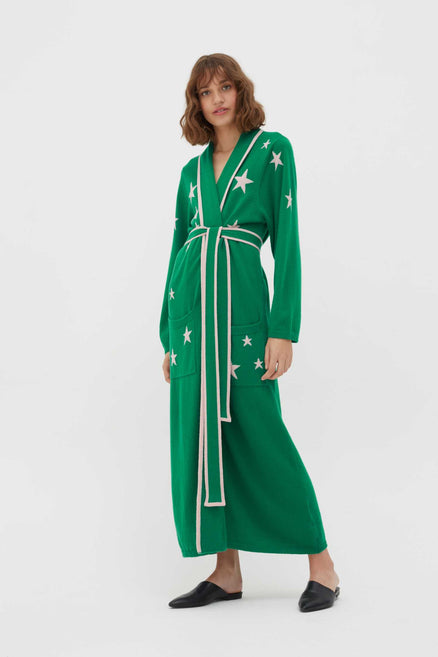 Green Cashmere Star Dressing Gown