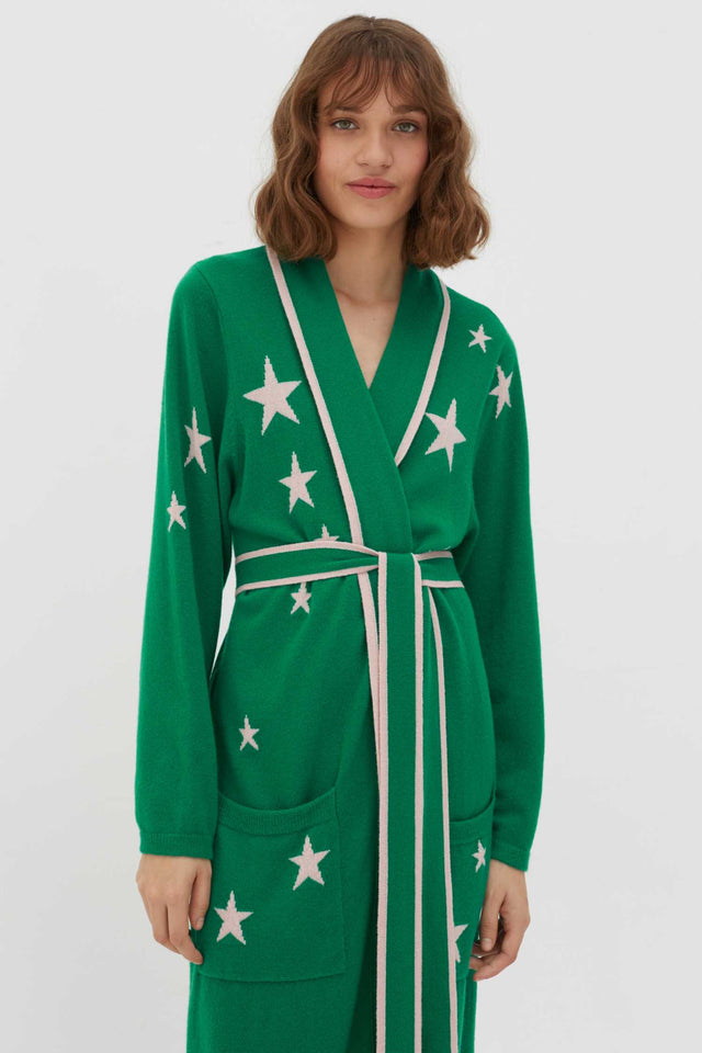 Green Cashmere Star Dressing Gown image 3