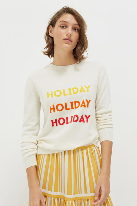 Cream Holiday Wool-Cashmere Sweater