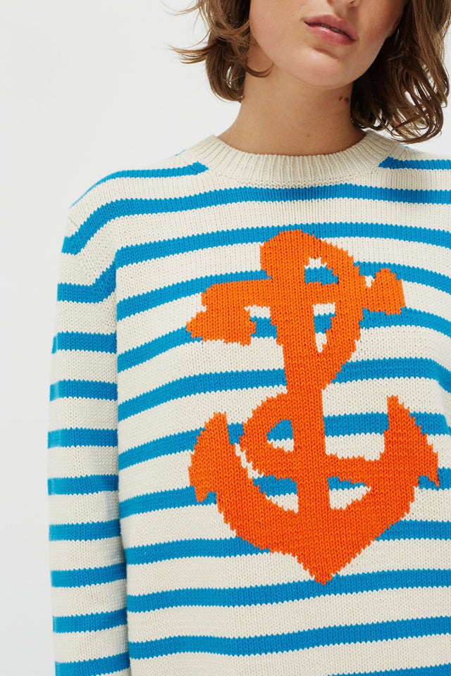 Cream Anchor Chunky Knit Sweater image 5