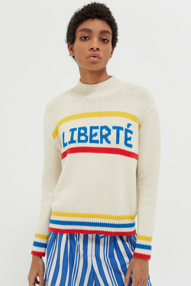 Cream Liberté Chunky Polo Neck Sweater image 3