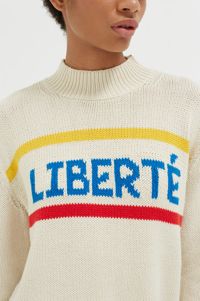 Cream Liberté Chunky Polo Neck Sweater image 5