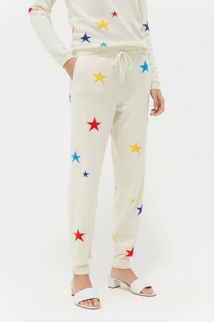 Cream Tonal Star Cashmere Track Pants