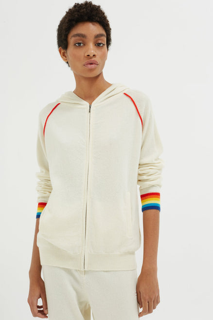 Cream Striped Cuff Cashmere Zip Hoodie