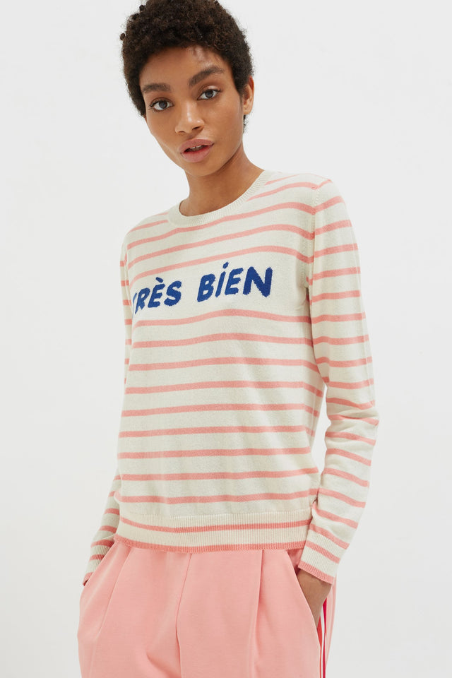 Cream Très Bien Striped Cashmere Sweater image 1