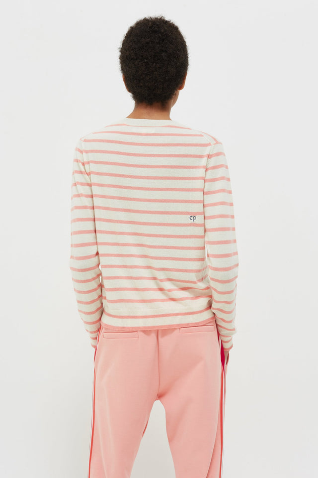 Cream Très Bien Striped Cashmere Sweater image 4