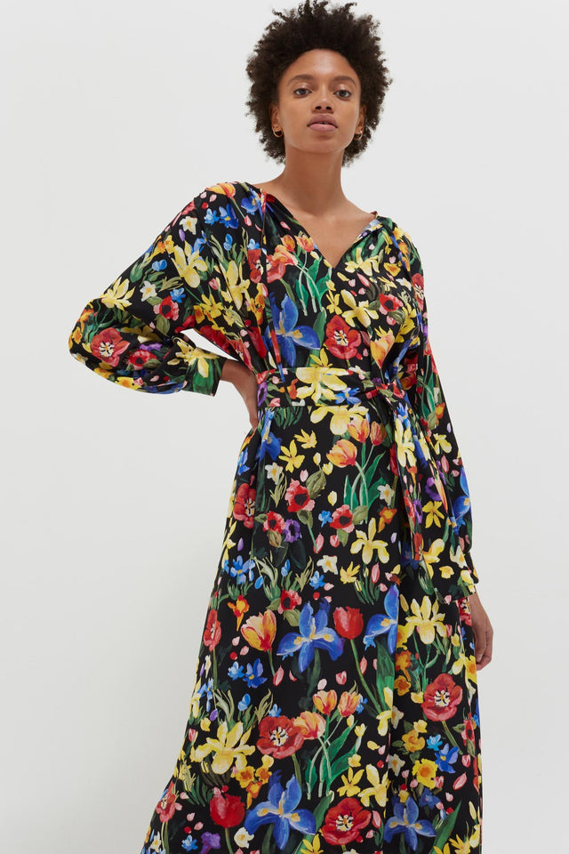 Black Charleston Floral Silk Dress image 1