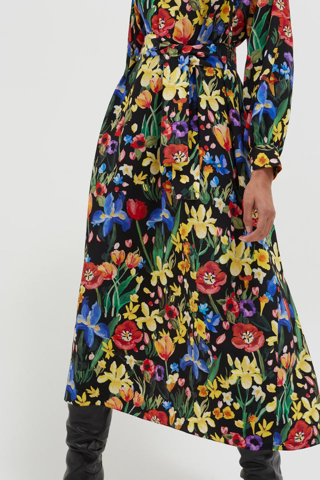 Black Charleston Floral Silk Dress image 7