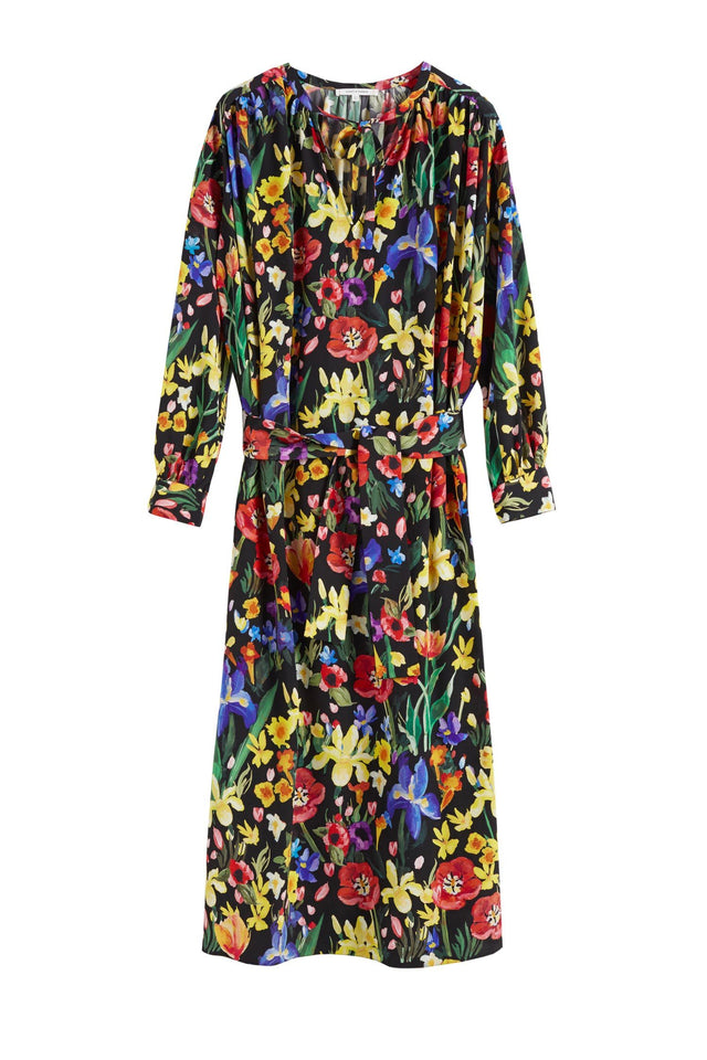 Black Charleston Floral Silk Dress image 2
