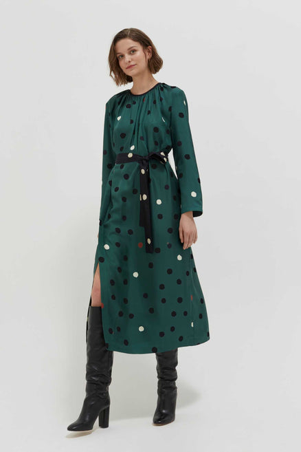 Green Painted Spot Silk Dress