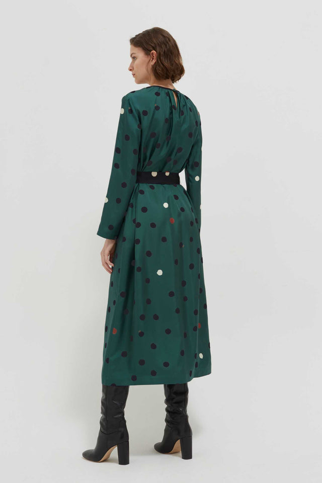 Green Painted Spot Silk Dress image 4